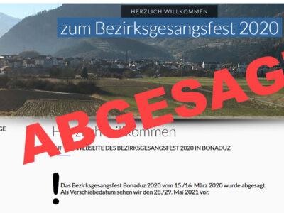 BGF Bonaduz vom 16. Mai ist abgesagt